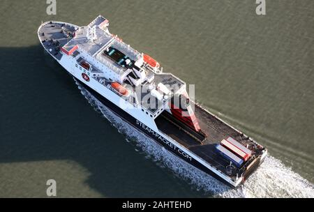 aerial view of the Ben-My-Chree, one of the Isle of Man Steam Packet Ferries arriving back into Heysham, Lancashire - Stock Photo