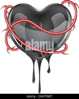 Black bleeding heart icon with red rose thorns on white background. - Stock Photo