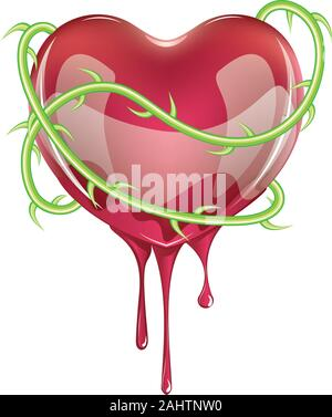 Red bleeding heart icon with green rose thorns on white background. - Stock Photo