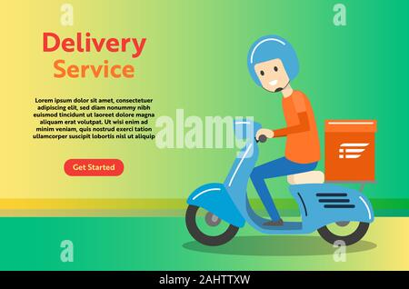 Delivery Boy Ride Scooter Motorcycle Service for online delivery service concept, web landing page, ui, mobile app, banner template - Vector Illustrat - Stock Photo