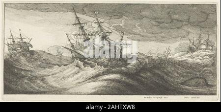 Wenceslaus Hollar. Warships and a Spouting Whale. 1665. Bohemia. Etching on ivory laid paper - Stock Photo
