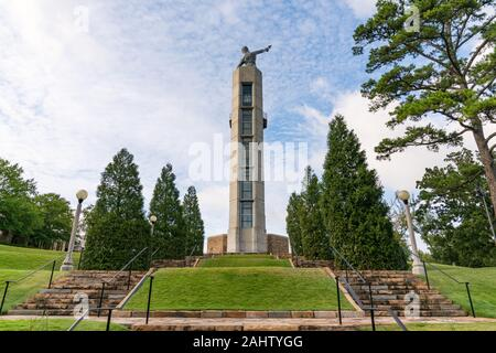 Birmingham, AL - October 7, 2019: Observation Tower in Vulcan Park in Birmingham, Alabama - Stock Photo