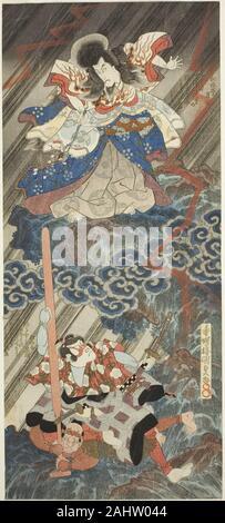Utagawa Kunisada I (Toyokuni III). The actors Ichikawa Danjuro VII as Kan Shojo (Sugawara Michizane) and Segawa Kikunojo V as Umeomaru in the play Sugawara Denju Tenarai Kagami, performed at the Kawarazaki Theater in the ninth month, 1832. 1832. Japan. Color woodblock print; vertical shikishiban diptych, surimono - Stock Photo