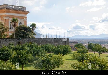 The complex of Belvedere at San Leucio, with Bourbons  royal mansion and silk factory, Unesco world heritage site at Caserta, Italy - Stock Photo