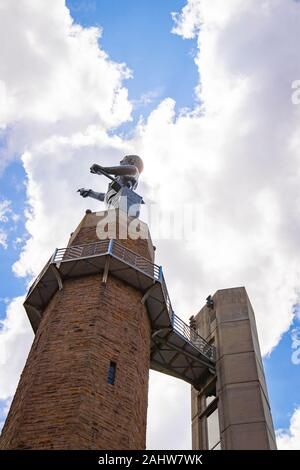 The Vulcan statue in silhouette, the largest cast iron statue in the world, and the city symbol of Birmingham, Alabama - Stock Photo