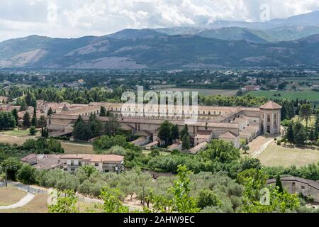 view from above of ancient Baroque San Lorenzo Certosa, shot in bright summer sun light at Padula, Salerno, Campania, Italy - Stock Photo