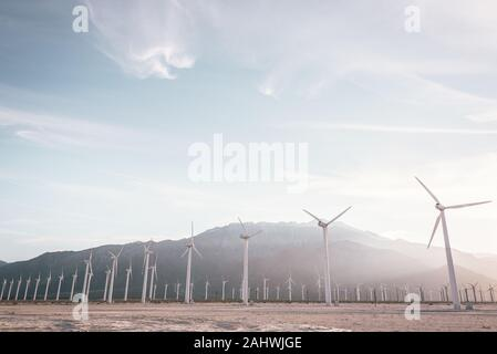 Windmills in Palm Springs, California - Stock Photo