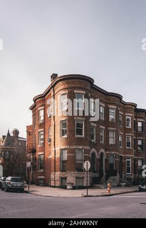 Brick row houses in Reservoir Hill, Baltimore, Maryland - Stock Photo