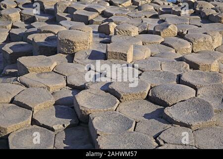 Basalt pavement created by tops of the massive basalt columns of the Giant's Causeway, County Antrim, Northern Ireland, UK.