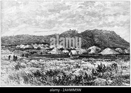 Engraving of a small African village in Uganda during the 1800s. - Stock Photo