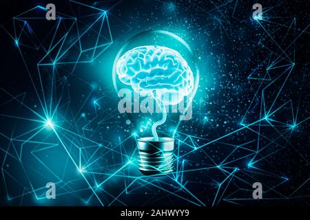 Glowing brain in a light bulb. Futuristic Plexus lines network background. Imagination, knowledge, cognition, learning, idea concepts 3d rendering ill