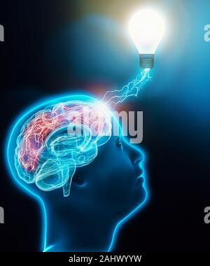 Human male profile head looking up with brain connected to a lightbulb with lightnings. Brain activity, intelligence, imagination, idea, neuroscience,