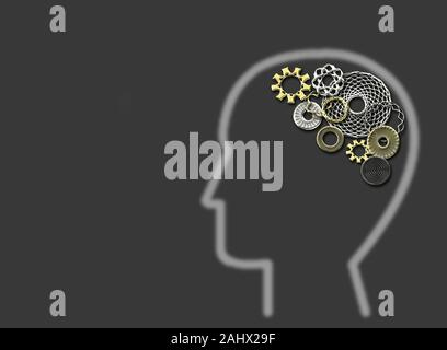 Human with gears and cogs inside showing brain activity