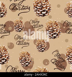 Pine tree cone and merry christmas text, seamless pattern. Repetitive earth toned background for winter holidays. - Stock Photo