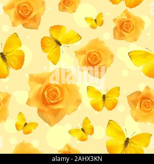Yellow rose flowers in bloom and flying butterflies, seamless pattern. Repetitive floral background of a sunny garden - Stock Photo