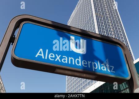 subway sign Alexanderplatz (U-Bahn) in Berlin, Germany