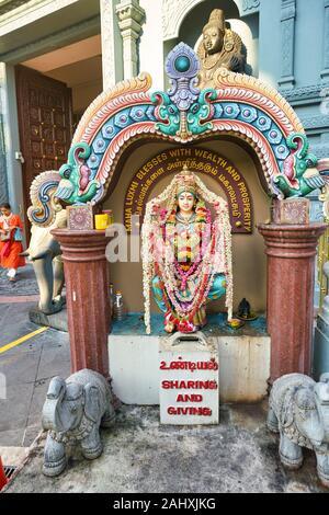SINGAPORE - CIRCA APRIL, 2019: exterior view of Sri Senpaga Vinayagar Temple in Singapore. It is a temple for the Hindu god Ganesha who is the presidi - Stock Photo