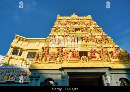 SINGAPORE - CIRCA APRIL, 2019: view of exterior of Sri Senpaga Vinayagar Temple in the morning. It is a temple for the Hindu god Ganesha who is the pr - Stock Photo