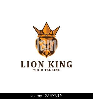 The lion king logo designs inspiration, clean and strong logo template - Stock Photo