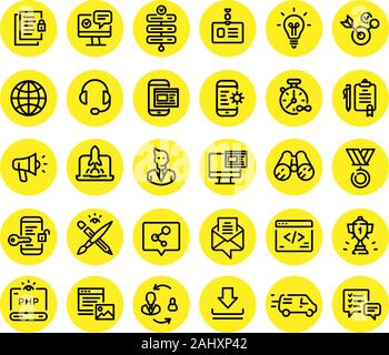 Icons on the subject of computer technology, communication and marketing. Vector. Set of icons for website design and landing. Signs and emblems of co - Stock Photo