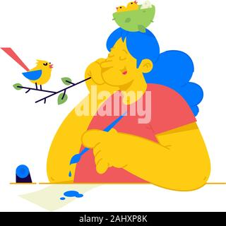 Illustration of a girl with a nest of chicks on her head. Vector. A woman listens to bird singing for inspiration. Metaphor, concern for nature and ch - Stock Photo