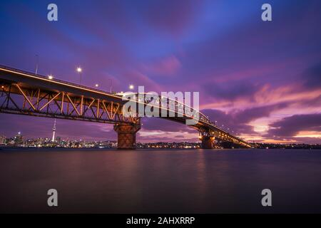 Sunset over Auckland Harbour Bridge, New zealand