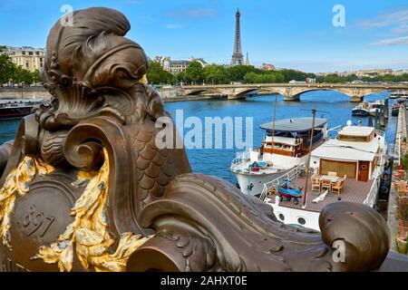 Pont Alexandre III, River Seine, Eiffel tower, Paris, France - Stock Photo