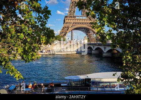 Tourist boat, Eiffel tower, River Seine, Paris, France