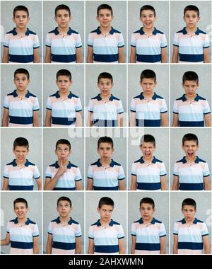 Child faces. Many faces showing emotions and expressions. Teenager face countenance. - Stock Photo