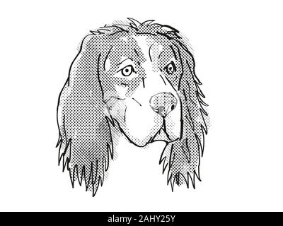 Retro cartoon style drawing of head of an English Setter, a domestic dog or canine breed on isolated white background done in black and white. - Stock Photo