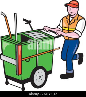 Illustration of a street cleaner worker pushing a cleaning trolley viewed from front on isolated background done in cartoon style. - Stock Photo