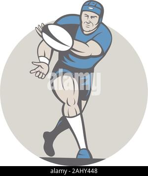 Illustration of a rugby player running passing the ball facing front done in cartoon style on isolated background. - Stock Photo