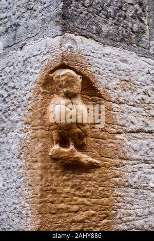 France, Côte d'Or (21), Cultural landscape of Burgundy climates classified as World Heritage by UNESCO, Dijon, owl carved lucky charm - Stock Photo