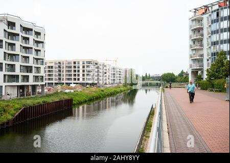 10.06.2019, Berlin, Germany, Europe - New residential buildings in the Europacity along the Ship Canal in Berlin Moabit. - Stock Photo