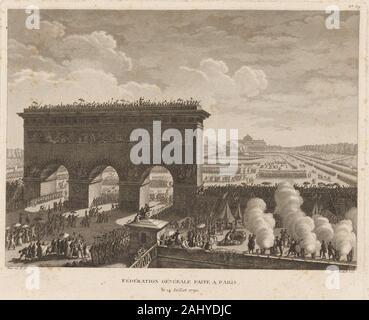 General federation made in Paris. Berthault, Pierre Gabriel, 1737-1831 (Engraver) Prieur, J.-L. (Jean-Louis), 1759-1795 (Artist). Prints depicting - Stock Photo