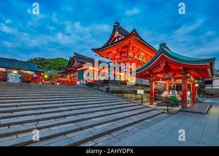 Fushimiinari Shrine Gehaiden & Fushimi Inari Jinja Romon no Kitsune Shrine in the Shinto Fushimi Inari Taisha Shrine at twilight, Fukakusa,