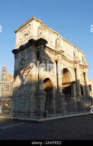 Rome (Italy). Arch of Constantine next to the Colosseum in Rome. - Stock Photo