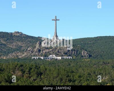 San Lorenzo del Escorial (Madrid) Spain. General view of the Valley of the Fallen in the valley of Cuelgamuros. - Stock Photo
