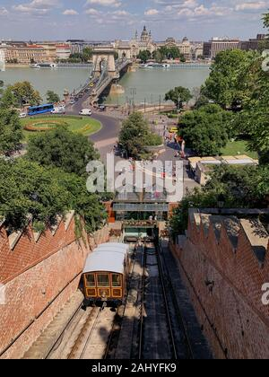 Budapest Castle Hill Funicular,a funicular railway that links the Adam Clark Square and the Chain Bridge at river level to Buda Castle above - Stock Photo