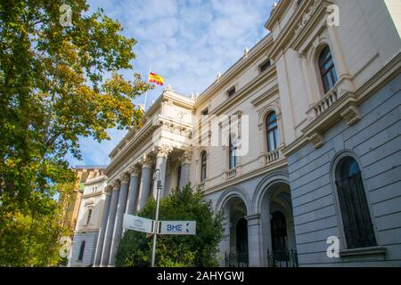 Facade of Bolsa de Madrid building. Plaza de la Lealtad, Madrid, Spain. - Stock Photo