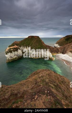 Dramatic clouds over the Chalk cliffs at Flamborough Head, East Riding of Yorkshire, England, UK