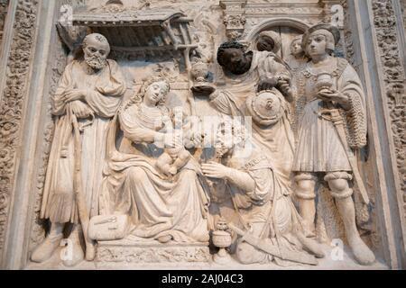 Trascoro (c 1536) by Lucas Giraldo, Cathedral of the Saviour, Ã. vila, Castile and León, Spain, Europe. - Stock Photo