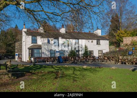 The Britannia Inn at Elterwater in The Lake District - Stock Photo
