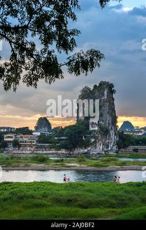 Li River and karst mountains in Guilin, China - Stock Photo
