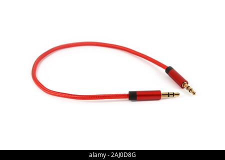 Red aux cable isolated on white - Stock Photo