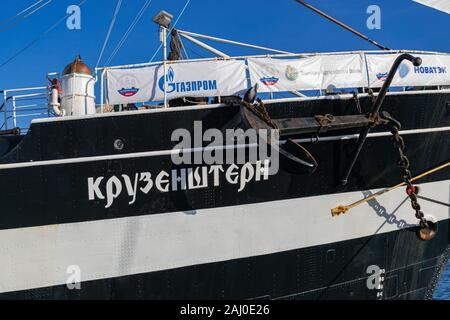 Tenerife/Spain; December 27 2019: Krusenstern four-masted barque, Russian sail training ship, moored at the port of Santa Cruz, Canary islands, Spain - Stock Photo