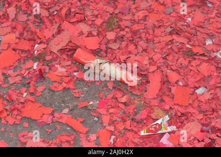 One day after New Year's Eve fireworks - Stock Photo