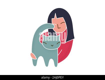 Trendy cartoon woman holding cat simple vector - Stock Photo