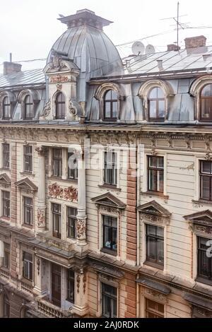 Art Nouveau architecture in Riga, Latvia - Stock Photo