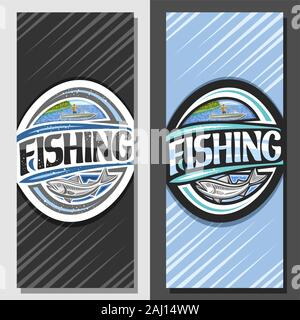 Vector layouts for Fishing, decorative brochure with illustration of standing male in motor boat near coast with trees, coupon with original script fo - Stock Photo